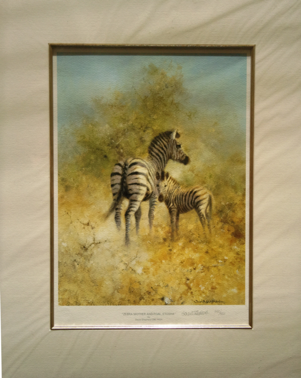 david shepherd zebra mother and foal print