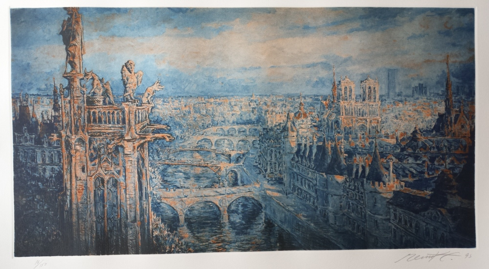 View over Paris from Notre Dame,  signed print